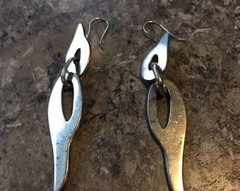 Vintage Mexican Sterling Silver Modernist Dangle Pierced Earrings 925