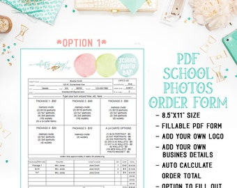 PDF School - Preschool - Daycare Photography Sales Order Form Template - Fillable Adobe Acrobat PDF Form - Editable - INF104BPDF
