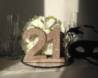 21st Birthday, party table number, Rose gold number, 21st birthday party decor, birthday party, birthday number, Birthday girl