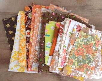 Remnant floral vintage bundle Retro Scraps and off cuts de stash // orange brown yellow fabric uk
