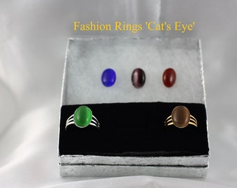 Ladies Fashion Rings with Cabochon Cat's Eye
