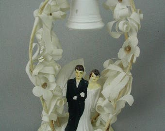 Antique Wedding Cake Topper, 1920's Wedding Cake Topper Bride and Groom, with Arch and Wedding Bell, Millinery Flowers