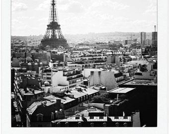 Eiffel Tower City View - Black and White Giclee Print - Paris Travel Photography - 8 x 9 - 13 x 15 - 17 x 20 - Original Fine Art - Wall Art
