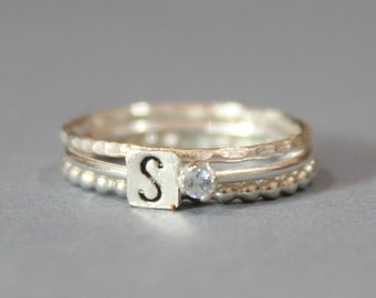 Sterling Silver March Birthstone and Initial Stacking Ring - 2mm Cubic Zirconia Ring - Personalized Set of 3 Stacking Rings