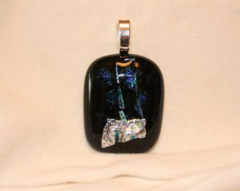 Fused Dichroic Glass Pendant- Shades of Blue and Silver  No. 0199