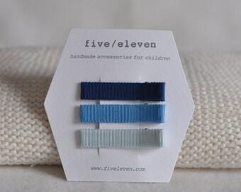 Blue whale set of 3 flat clips. Handmade.