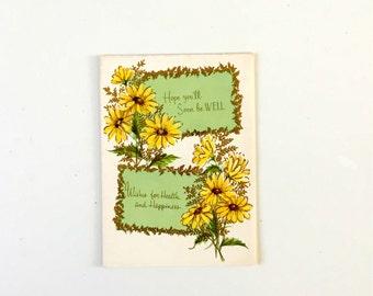 Vintage 1950s Get Well Card Unused Vintage Card Floral Vintage Card
