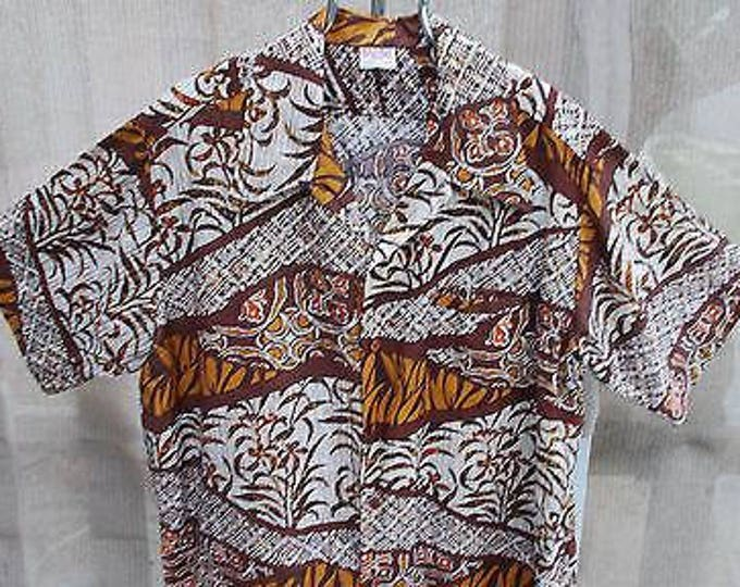 Vintage 70s Barefoot In Paradise Psychedelic Brown Orange White Floral Cotton Hawaiian Tiki Mens Short Sleeve Shirt
