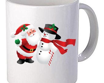 Merry Christmas Santa Claus Snow Man Beautiful Coffee Mug