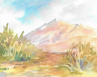 Mountain dream, small original watercolor