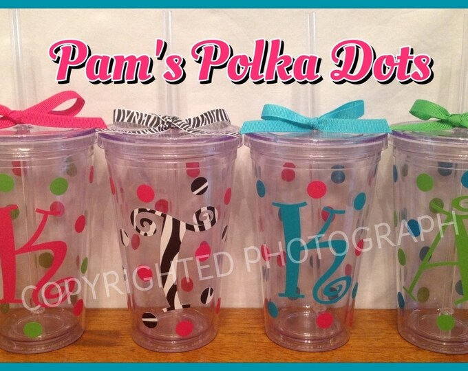 4 Personalized 16 oz. CLEAR INSULATED TUMBLERS with name, initial or monogram, polka dots, lid & straw