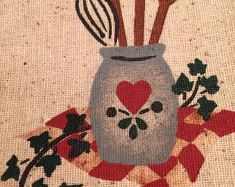 COOKING Stenciled Gift Bag Kitchen Miniature Wood Rolling Pin Jute Ties Farmhouse Country Decor