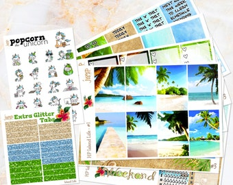Island Life tropical beach weekly set / kit stickers - for classic/medium HAPPY PLANNER - Popcorn the Unicorn - vacation summer