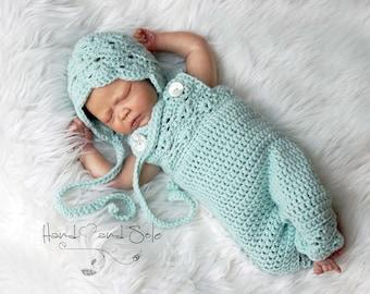 Crochet Pattern, Crochet Clothing Pattern for Baby Girl, Crochet Hat Pattern and Crochet Overalls Pattern, Crochet Baby Bonnet Pattern