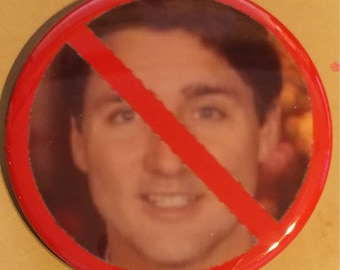 No To Justin Trudeau 2.25 Inch Wearable Button