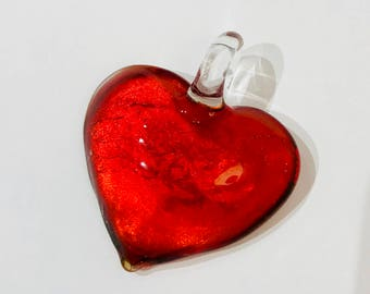 36mm Heart Pendant, Red Glass Lampwork Heart, Red Heart Pendant, Red Jeweled Heart Pendant, Silver Foil Heart, 36x45mm, Valentine Jewelry
