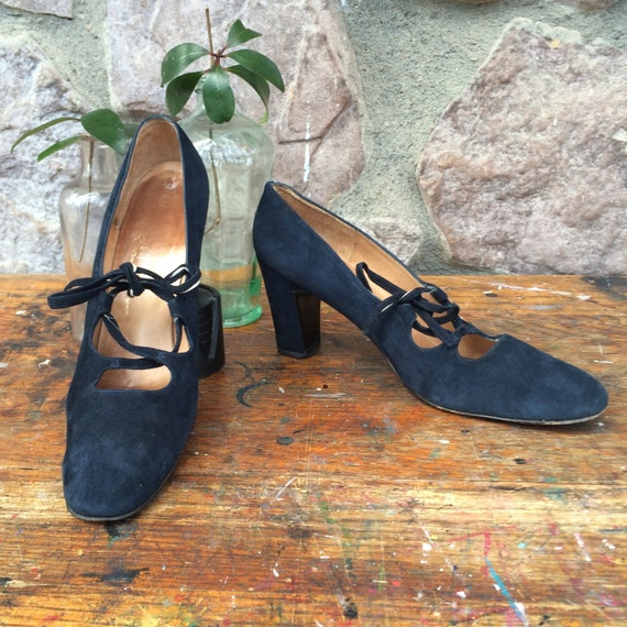 Black Vintage Made Heels 60s Felipe Leather Soles Up Lace 70s Women's in Size Spain 8 Stacked Suede Pttxrw