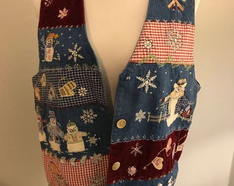 Christmas Blue Jean tacky ugly sweater vest snowmen ice skating M/L
