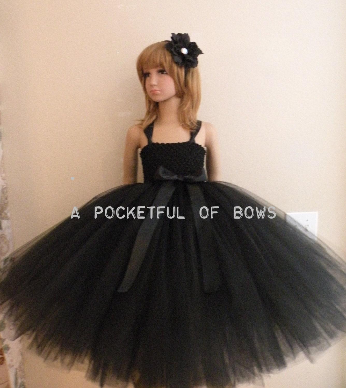 Black Flower Girl Dress Girls Black Formal Dresses Long