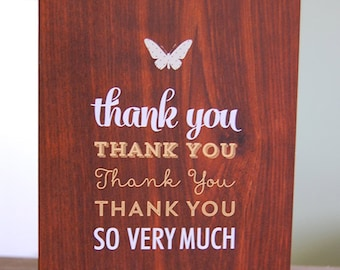 Thank You Wood Background with Butterfly Blank Note Card - Printed A2 Fold-Over Note Card