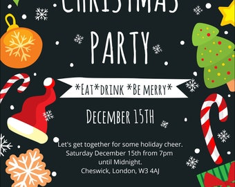 Personalised Christmas party invites 10.5 x 14.8 cm, xmas party invitations