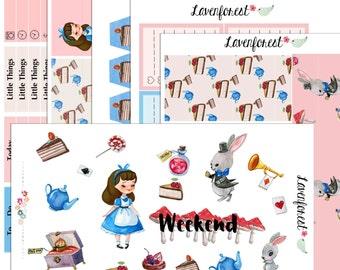 Alice in wonderland planner stickers,  planner sticker kit for use with Happy Planner, happy planner stickers,  SK025