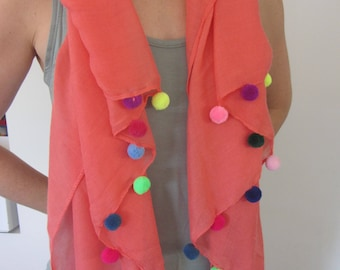 Tangerine Scarf with pom poms/Summer Scarf/Day Evening Scarf/Gift Scarf/Coloured Pom Poms/Tangerine Scarf