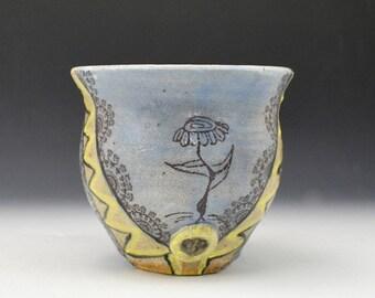 Story Mug, Dancing Daisy Mug, Handmade Mug, Art Mug, Blue and Yellow Mug, Southwestern Mug, Desert Coffee Mug, Pottery Mug, Latte Mug, Mug