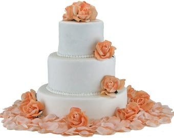 Peach Silk Rose Cake Flowers