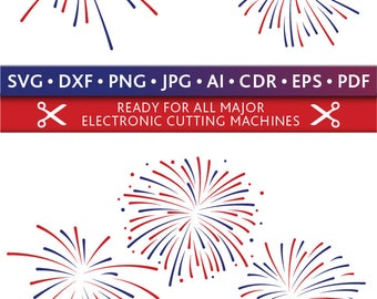 Fireworks Svg 4th of July Fireworks Svg Fireworks Cut Files Silhouette Studio Cricut Svg Dxf Jpg Png Eps Pdf Ai Cdr
