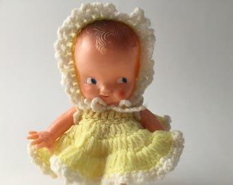 Vintage Irwin Kewpie doll, 1950s Irwin Kewpie doll, celluloid Kewpie, plastic Irwin doll, yellow dress kewpie, dress me kewpie, 50s kewpie