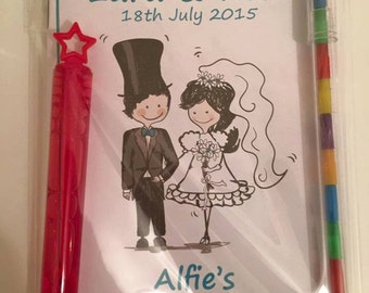Personalised wedding favour childrens activity pack with colours and bubble wand