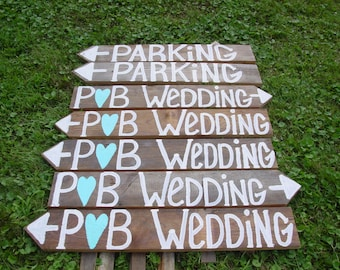 7 lg rustic wedding signs w/stakes / wooden signs / reception sign / ceremony sign / country wedding / wedding decorations / barn weddings