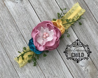 Pink Yellow Floral Headband - Baby Headband - Couture Headband- Toddler Headband - Infant Headband - Summer Headband - Satin Floral Headband
