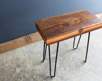 Authentic Antique Reclaimed Barnwood Stool on Hairpin Legs