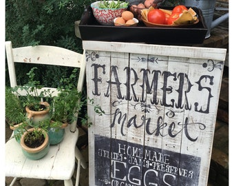Farmers Market Hand Painted Sign  repurposed pallet wood  home decor  farmhouse
