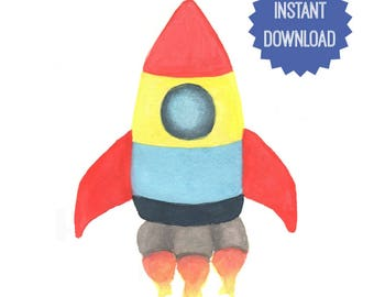 Printable Rocket, Watercolor Print, Boys Room Decor, Wall Decor, Boys Nursery, Wall Art, Gift for Him, Spaceship Art, Rocket Art