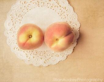 Food Photography, Pair of Peaches, Pink Peach Food Art, Foodie Photo, Kitchen Art, Farm Market, Summer Art, Pretty Pastel Pink