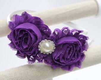 Violet headband, purple flower girl headband, violet junior bridesmaid headband, toddler girls headband, purple and ivory headbands girls