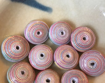 "Hard Candy Hand Rolled Paper Beads Disk Beads 1/2"": Set of 10"