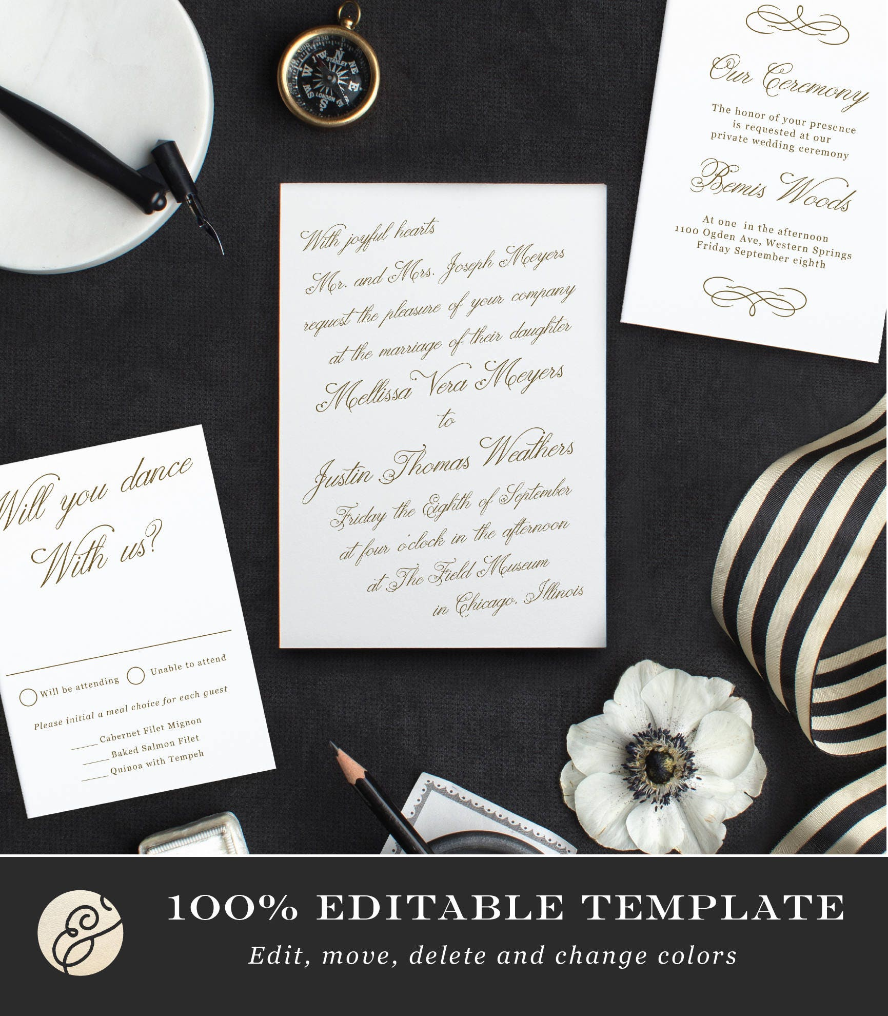 Printable template design your own wedding invitation template printable template design your own wedding invitation template word or pages mac or pc editable artwork colors instant download stopboris Image collections
