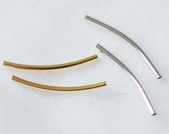 20pcs Gold/ Silver Curved Tube Beads 29x2mm , Real Gold/ Rhodium plated Brass Tube Spacers (GB-046)