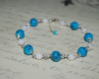 Natural White Shell Pearls Blue Glass  Wire Wrap Bracelet