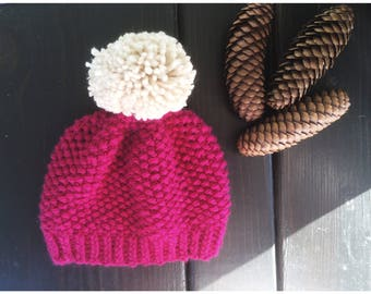Berry Pink Knit Baby Winter Hat | Solid Knit Pom Pom Hat | Ivory and Pink Winter Hat | 6 to 12 months