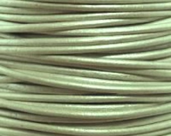 1mm Round Leather Cord Metallic Shell Green : 2 yards 1.83m