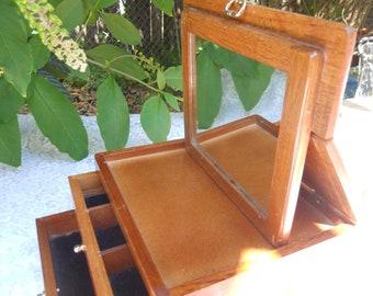 Vintage Wood Jewelry Box Mirror in Lid