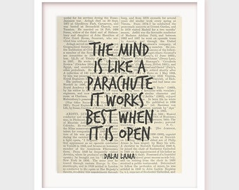 Inspirational Quote Print, The Mind is Like a Parachute, it Works Best When it is Open, Dalai Lama Quote, Inspirational Art Decor, Printable
