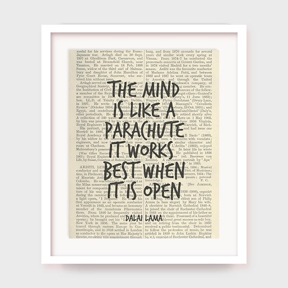 inspirational artwork for office. Inspirational Quote Print, The Mind Is Like A Parachute, It Works Best When Open, Dalai Lama Quote, Art Decor, Printable Artwork For Office