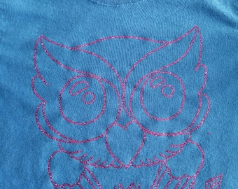 Purple Owl on Blue