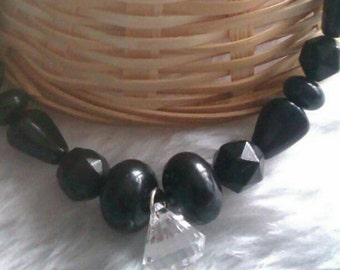 Black & Crystal Beaded Necklace